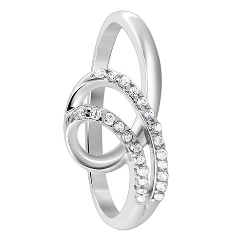 925 Sterling Silver 1mm Round Cubic Zirconia Loop Design Ring