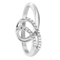 Sterling Silver 1mm Round Clear Cubic Zirconia Loop Design Ring
