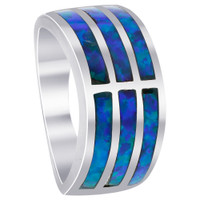 Sterling Silver Created Blue Opal 9mm wide Stripes Ring