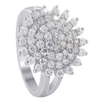 925 Sterling Silver 16mm Round Cubic Zirconia Ring #SORS015