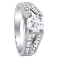 925 Sterling Silver Elevation Holding Round CZ Solitaire with accents Ring #SORS068