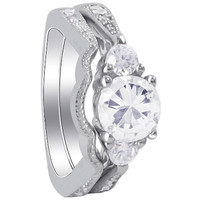 925 Sterling Silver Round CZ with accents Engagement Ring Wedding Band Set