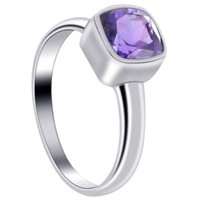 Sterling Silver Polished Finish Square Amethyst Gemstone 2mm Ring #SRRS006