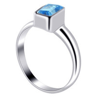Sterling Silver Rectangular Blue Topaz Gemstone 3mm Ring