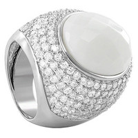 925 Sterling Silver Oval Simulated White Stone Faceted Cubic Zirconia Cocktail Ring