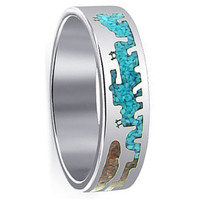 Mens 925 Sterling Silver Turquoise and Coral Gemstone Inlay Southwestern Style Band