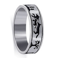 925 Sterling Silver Southwestern Style Story Telling Environment Band