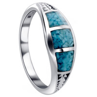 925 Sterling Silver Turquoise Gemstone inlay Southwestern Style 7mm Ring #TBRS016