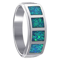 925 Sterling Silver Simulated Blue Opal Inlay Ring