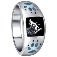 Mens 925 Sterling Silver Turquoise Gemstone Inlay Wolf Head and Paw Southwestern Style Ring