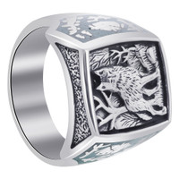 Men's 925 Sterling Silver Turquoise Gemstone Southwestern Style Wolf Ring #TBRS026
