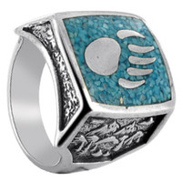Men's Sterling Silver Turquoise Gemstone Southwestern Ring