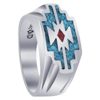 Mens Turquoise & Coral 925 Silver Southwestern Style Ring
