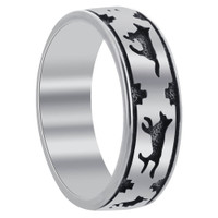 Men's 925 Sterling Silver Southwestern Style Running Wolf 6mm Band #TBRS040