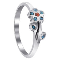 925 Sterling Silver Turquoise with Coral Gemstone Southwestern Style Flower Ring