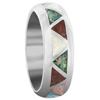 Unisex 925 Sterling Silver Multicolor Simulated Opal Southwestern Style 7mm Band