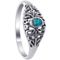 925 Sterling Silver Turquoise Gemstone over Front with Filigree Floral Design Southwestern Style Ring
