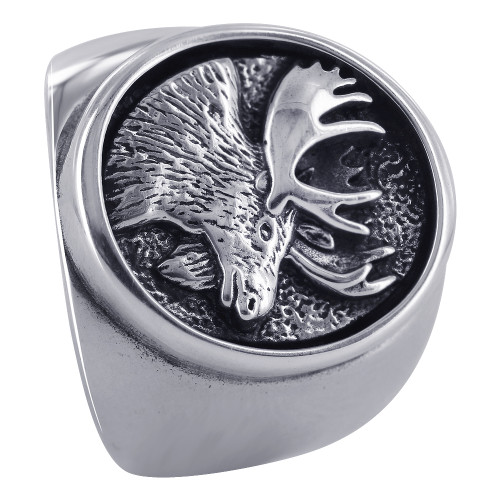 925 Sterling Silver 20mm Oval Design with Moose Southwestern Style Ring