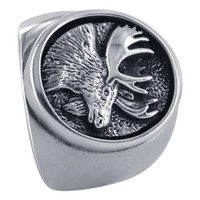 925 Sterling Silver 20mm Oval Design with Moose Southwestern Style Ring #TBRS088
