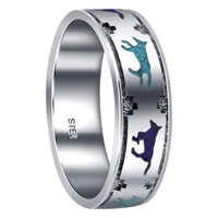 Men's Silver Turquoise & Lapis Lazuli Running Wolves Band