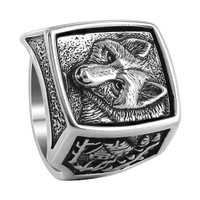 Mens 925 Sterling Silver Rectangle with Wolf and Cottage Design Southwestern Style Ring