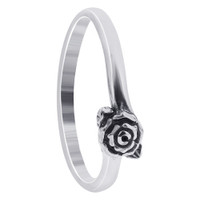 925 Plain Sterling Silver 4mm Rose Southwestern Style Ring #TBRS108