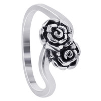 925 Sterling Silver 7mm wide Double Rose Ring