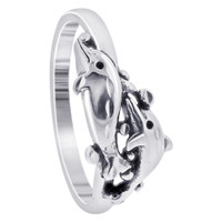 Sterling Silver 8mm wide Double Dolphin Southwestern Style Wrap Ring