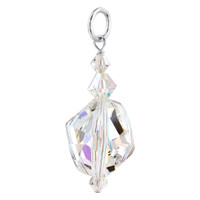 Sterling Silver Oval Clear AB Crystal Swarovski Elements 32mm Pendant #BDPS003