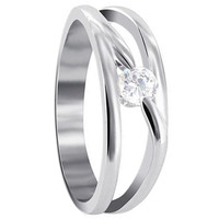 Sterling Silver Polished Finish Round Cubic Zirconia Ring
