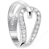 925 Sterling Silver Polished Finish Round Cubic Zirconia Ring