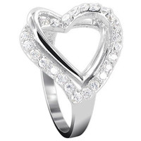925 Sterling Silver Round Cubic Zirconia with Accents Open Heart Ring