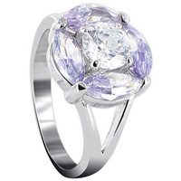 925 Sterling Silver Round Lavender Color Cubic Zirconia with Accents Flower Ring