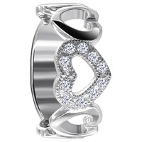 925 Sterling Silver Polished Finish Round Cubic Zirconia Open Heart Ring #TDRS106