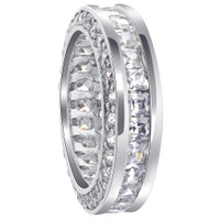 925 Sterling Silver Round Cubic Zirconia 6mm Eternity Band #TDRS113