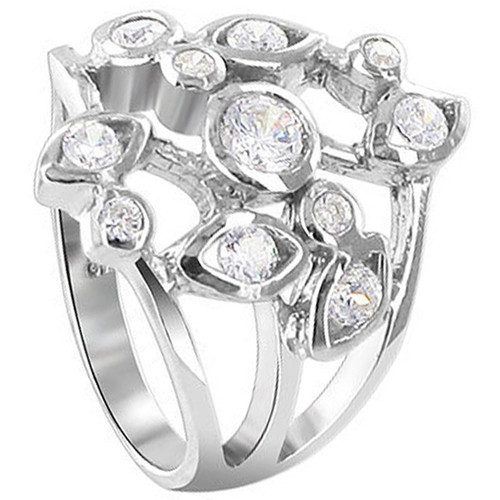 925 Sterling Silver 2mm Round Cubic Zirconia Floral Designer Ring