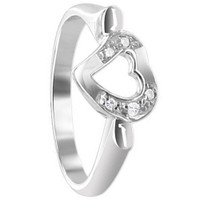 925 Sterling Silver Round Cubic Zirconia 8mm Wide Open Heart with Prong Set Ring
