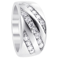 925 Sterling Silver Round Cubic Zirconia 10mm Wide Designer Ring #TDRS118