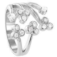 925 Sterling Silver Polished Finish 2mm Round Cubic Zirconia Floral Design Ring