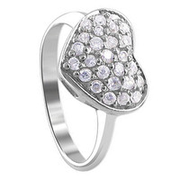 925 Sterling Silver 2mm Round Cubic Zirconia Pave Setting with 10mm x 12mm Heart Ring