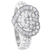 925 Sterling Silver Round Cubic Zirconia Pave Set 13mm x 12mm Heart Ring