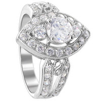 925 Sterling Silver Round Cubic Zirconia Prong Set with CZ Accents Ring