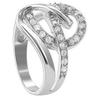 925 Sterling Silver Round Cubic Zirconia Prong Set with Swirly Pattern Ring #TDRS135