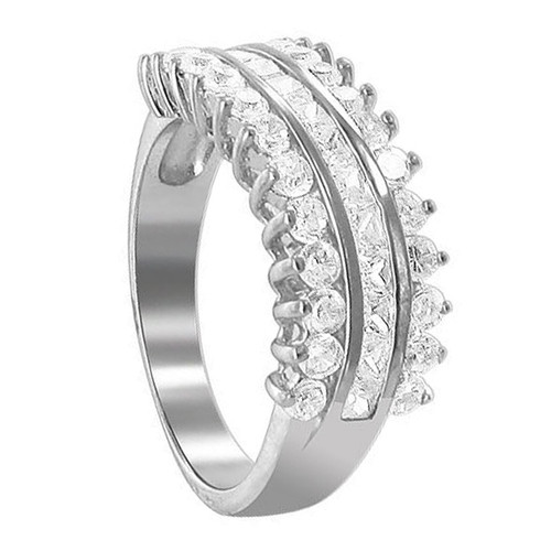 925 Sterling Silver 2mm Round Cubic Zirconia with Prong Set Channel Ring