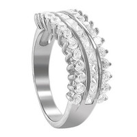 925 Sterling Silver 2mm Round Cubic Zirconia with Prong Set Channel Ring #TDRS136