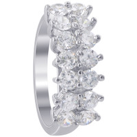 925 Sterling Silver 8mm Round Cubic Zirconia 2mm Ring #TDRS140