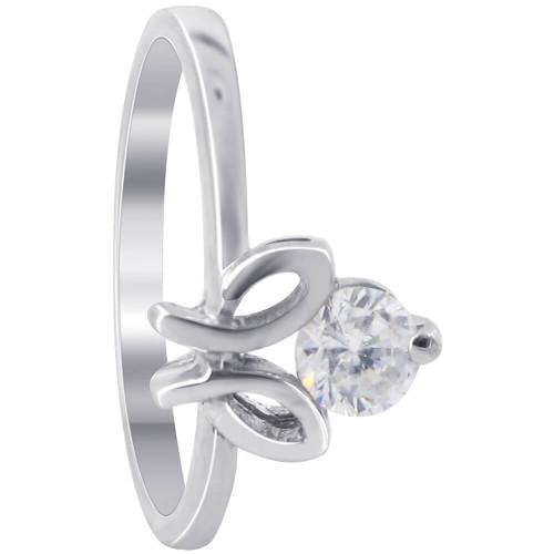 925 Sterling Silver 7 x 10mm Round Cubic Zirconia 2mm Ring