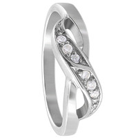 925 Sterling Silver Round Cubic Zirconia Overlapping Ring