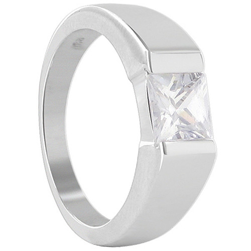925 Sterling Silver 6mm Square Cubic Zirconia Ring
