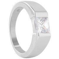 925 Sterling Silver 6mm Square Cubic Zirconia Ring #TDRS152